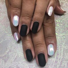 12 Must Have Matte Nail Designs for Fall: #2. MATTE BLACK NAILS WITH CHROME ACCENTS