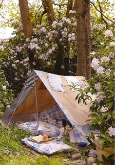 Tent with sweet fabrics.