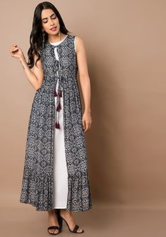 Indo Western Dresses – Buy Indo Western Wear for Women Online – Indya Black White Floral Print Maxi Jacket Indian Gowns Dresses, Women's Dresses, Dress Outfits, Casual Dresses, Fashion Dresses, Dance Dresses, Dresses Online, Kurta Designs Women, Blouse Designs