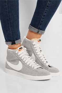 Nike blazer perforated suede high-top sneakers net-a-porter. Nike Free Shoes, Nike Shoes Outlet, Running Shoes Nike, Running Sports, Cute Shoes, Women's Shoes, Me Too Shoes, Golf Shoes, Nike Air Max