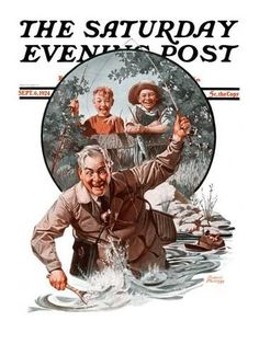 """Giclee Print: """"Fisherman and Boys,"""" Saturday Evening Post Cover, September 6, 1924 by Frederic Stanley : 24x18in"""