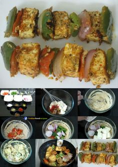 Paneer tikka is an Indian dish made from chunks of paneer marinated in spices and grilled in a tandoor. It is a vegetarian alternative to non veg dishes. Best Paneer Recipes, Indian Veg Recipes, Indian Snacks, Spicy Recipes, Vegetarian Recipes, Cooking Recipes, Paneer Dishes, Veg Dishes, Paneer Starters