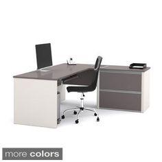 Bestar Connexion L-desk with Oversized Pedestal - Overstock™ Shopping - The Best Prices on Bestar L-Shape Desks L Desk, Office Desk, Office Furniture, Work Desk, Lateral File, Commercial, L Shaped Desk, Nebraska Furniture Mart, Filing System