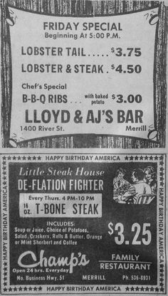 Dec. 31, 1975 - Advertisements for Lloyd & AJ's Bar and Champ's in Merrill, Wisconsin. 16 oz. T-Bone steak, soup of juice, potato, salad, crackers, rolls and butter, sherbert and coffee for $3.25!