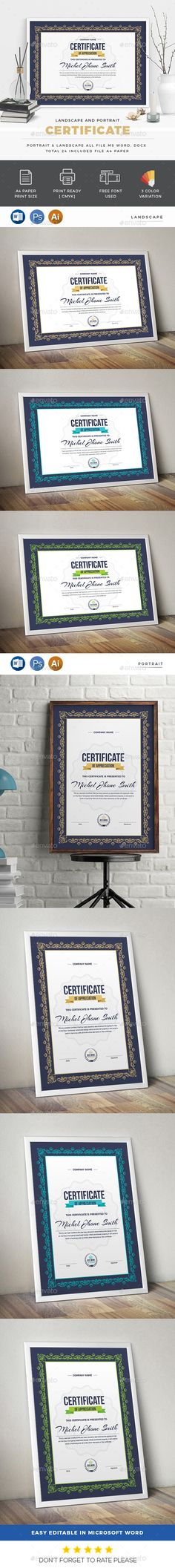Certificate by generousart Features of Certificate Template 3 Color Paper Size With Bleeds Quick and easy to customize templatesChange Customize e Stencil Templates, Print Templates, Design Templates, Certificate Design, Certificate Templates, Stationery Templates, Stationery Design, A4 Paper, Paper Size