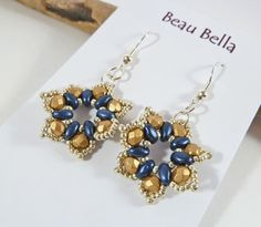 Flower Earrings Star Earrings Blue & Gold by BeauBellaJewellery
