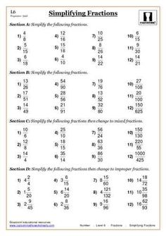 Fractions maths worksheet