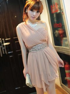 Sexy Fashion Pleated One Shoulder Bridesmaid Dress
