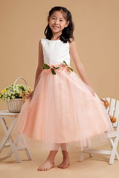 Pink White Tulle Scoop Flower Girl Dresses - Order Link: http://www.theweddingdresses.com/pink-white-tulle-scoop-flower-girl-dresses-twdn1119.html - Embellishments: Bowknot , Flower; Length: Floor Length; Fabric: Tulle; Waist: Natural - Price: 64.63USD
