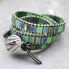 wrap bracelet - love the square blue and green beads.