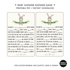 Baby Shower Fill-in-the-blanks Game  Green by MERRILYDESIGNS