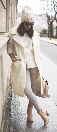 #winter #fashion / monochrome white