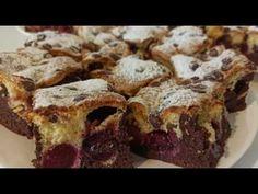 Prajitura pufoasa cu cirese sau visine. - YouTube Brownie Cake, Brownies, No Cook Desserts, Cake Recipes, Deserts, Strawberry, Make It Yourself, Baking, Youtube