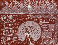 #WarliPaintings #Birds #Trees #Mountains #IndianArt #IndianPaintings #Art #Paintings #Tradition #TribalArt #FolkArt #PaintingsforLivingRoom #ArtworkforWalls #Red #White #IndianArtists