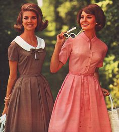 Sears 66 ss pink and brown 60 Fashion, Pink Fashion, Fashion History, Retro Fashion, Vintage Fashion, Fashion Outfits, Fashion Trends, 1960s Dresses, Vintage Dresses