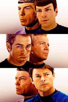 Star Trek main characters — Then and now (Bones and Spock were so perfect! Star Wars, Star Trek Tos, Star Trek Voyager, Deep Space Nine, Science Fiction, Foto Gif, Plus Tv, I Love Cinema, John David