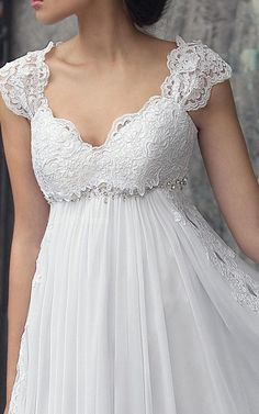 Shop affordable Empire Cap-Sleeve Chiffon Dress With Pleats And Appliques at June Bridals! Over 8000 Chic wedding, bridesmaid, prom dresses & more are on hot sale. Wedding Dress Chiffon, Wedding Dresses Plus Size, Plus Size Wedding, Bridal Dresses, Wedding Gowns, Bridesmaid Dresses, Chiffon Dresses, Fall Dresses, Long Dresses