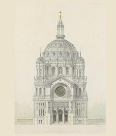 Victor Baltard, Église Saint-Augustin, Paris, élévation de la façade principale