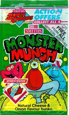 Monster Munch is a British baked corn snack although there have been variants with the same name in Ireland and France. Monster Munch was launched in 1977 by Smiths (who … Retro Sweets Uk, Old Sweets, Vintage Sweets, Retro Recipes, Vintage Recipes, 90s Childhood, Childhood Memories, Sweet Wrappers, Monster Munch