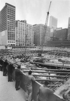 People watch as construction begins at the site of the future Sears Tower, Chicago,  in 1971.