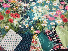 Vibrant Watercolor Flowers Fabric Bundle  by NeedleinaFabricStash