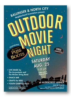 Outdoor Movie Night Flyer Template - The Best Image Search Backyard Movie Nights, Outdoor Movie Nights, Event Poster Design, Poster Designs, Poster Ideas, Flyer Design, Movie In The Park, Neighborhood Party, Outdoor Cinema