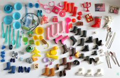 Huge Lot of Vintage Doll Accessories, Shoes, Food, Sundries and Dolly Bits