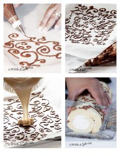 Decorated Swiss Roll | Step by step instruction | নকশী সুইস রোল | Copyright © With A Spin: