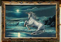 """Vtg BLACK VELVET PAINTING ~ UNICORN Ocean Waves ~ HUGE 40""""x28"""" FRAMED Signed Art #OutsiderArt #BlackVelvet #Unicorn"""