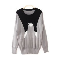 Gray cat print round neck cute pullover ($29) ❤ liked on Polyvore