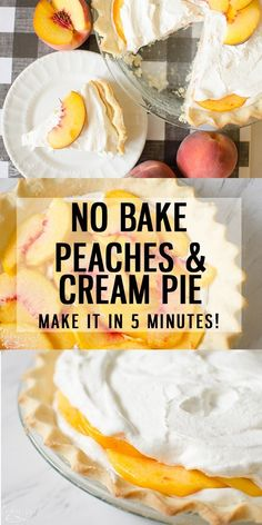 Peaches and Cream Pie {Quick and Easy} Peaches and Cream Pie is a fresh creamy, no bake pie that can be whipped together in 5 minutes flat! Using fresh peaches, this easy peach pie recipe will be a family favorite to return to every peach season! Peaches And Cream Dessert, Peach Cream Pies, Peaches And Cream Recipe, Easy Peach Pie, Peach Pie Filling, Creamy Peach Pie Recipe, Easy Peach Dessert, Fresh Peach Recipes, Fresh Peach Pie