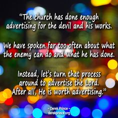 Derek Prince quote about advertising for Jesus.