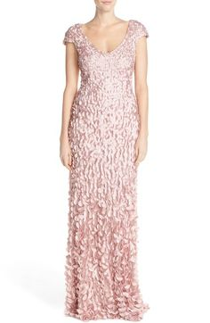 Theia Satin Petal Appliqué Gown available at #Nordstrom