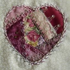 Crazy Quilt Heart by sweet.dreams Crazy Quilt Blocks, Crazy Quilting, Patch Quilt, Quilting Ideas, Crazy Patchwork, Crazy Quilt Stitches, Quilting Designs, Quilt Patterns, Silk Ribbon Embroidery