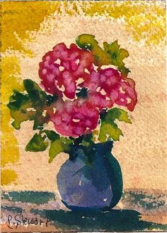 """ACEO Watercolors Carnations in a Vase Flowers Bouquet"" - Original Fine Art for Sale - © Penny Stewart http://www.craftylady.com"