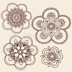 Henna Mehndi Flowers Doodles Royalty Free Stock Vector Art Illustration