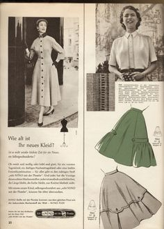 A beautiful coat dress, skirts and a blouse for spring (March 1956). #vintage #1950s #dresses #fashion