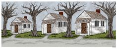 """Tenant Houses (illustration for """"The Chronicles of Gray Wolf: The Legacy of the Spirit Stone"""")"""