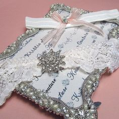 Charming Blush Lace Garter Set with Crystal Brooch Accent - Handmade Lace Bridal Garters with Vintage Flair