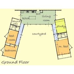 u shaped house plans   central courtyard   Recherche Google    U Shaped House Plan   I used to come up   floor plans all the time