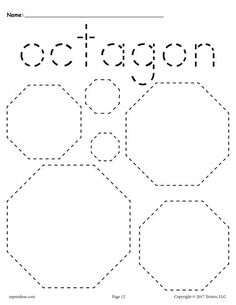 FREE preschool tracing shapes worksheets. Includes an octagon tracing worksheet plus 11 other shapes tracing worksheets. Great for toddlers too! Get them all here --> http://www.mpmschoolsupplies.com/ideas/7545/12-free-shapes-tracing-worksheets/