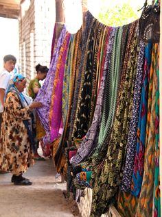 Colorful cloth . Khiva Uzbekistan