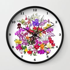 A celebration of orchids wall clock, tropical garden, color photography, gardener, botanical, floral clock, orchid clock by RVJamesDesigns on Etsy