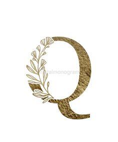 'Monogram Q Gold Flowers And Foliage' Sticker by floralmonogram E Letter Design, Monogram Wallpaper, Alphabet, Monogram Shirts, Cool Fonts, Gold Flowers, Logo Design Inspiration, Lettering Design, Decorative Items