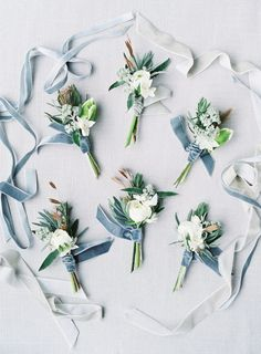 Blue Wedding Flowers The soft velvet blues and bright white flowers in these boutonnieres make for the prettiest floral inspiration for a winter wedding. The delicate white flowers against the textured foliage are a match made in heaven. Winter Wedding Flowers, Floral Wedding, Wedding Colors, Wedding Bouquets, Wedding Day, Summer Flowers, Wedding Bells, Wedding Bride, Wedding Reception