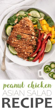 Keep the salad routine from getting boring. Crispy, pan-fried peanut chicken is your new weeknight dinner favorite! Serve it with this crunchy asian salad with an easy, homemade dressing. Easy Chicken Recipes, Asian Recipes, Beef Recipes, Chicken Ideas, Chicken Recepies, Healthy Salad Recipes, Lunch Recipes, Dinner Recipes, Fruit Recipes