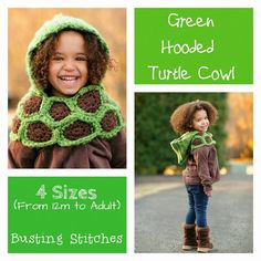 This turtle cowl made with our Hometown USA yarn is just too cute!  Check out the pattern by Busting Stitches.