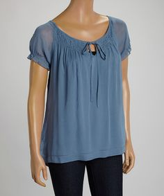 Another great find on #zulily! Blue Shirred Top by Indira #zulilyfinds