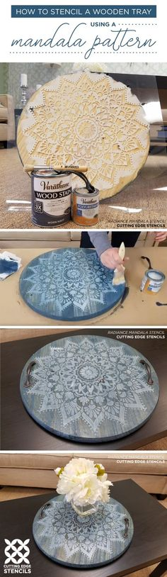 Cutting Edge Stencils shares how to craft a DIY wooden tray using the Radiance Mandala Stencil. http://www.cuttingedgestencils.com/prosperity-mandala-stencil-yoga-mandala-stencils-designs.html #diy_painting_stencil