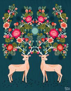 Andrea Lauren: Deer with Flowers Art Print by Andrea Lauren